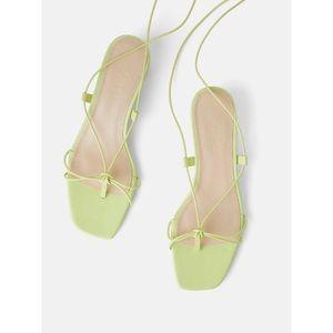 NEW zara leather thin strap strappy sandals